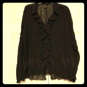 Lane Bryant Black Sheer Long Sleeves Top